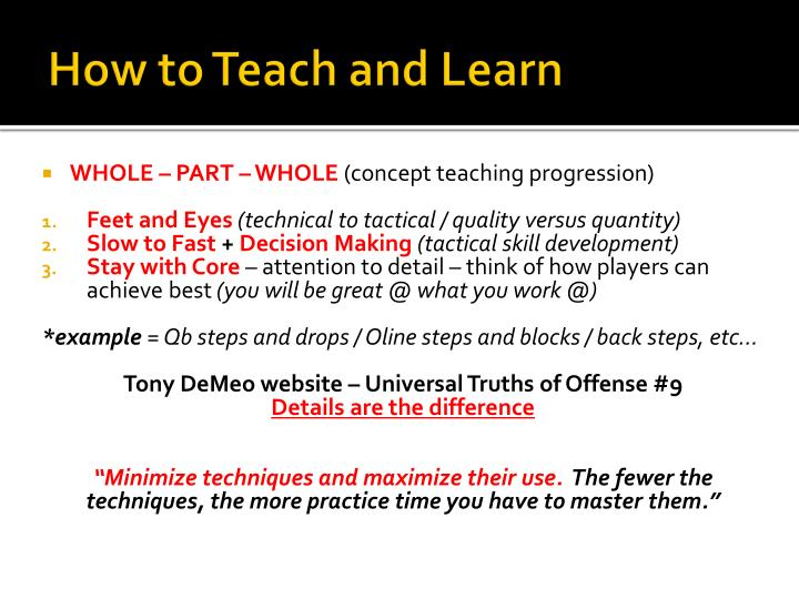 How to teach and learn