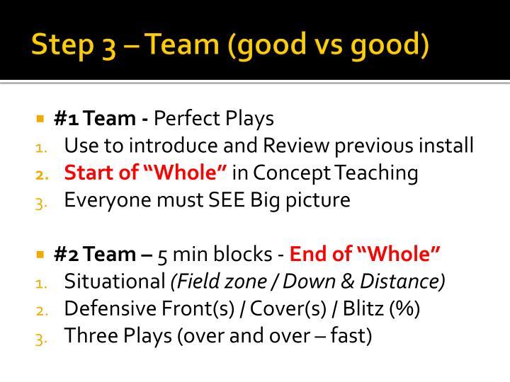 Step 3 – Team (good