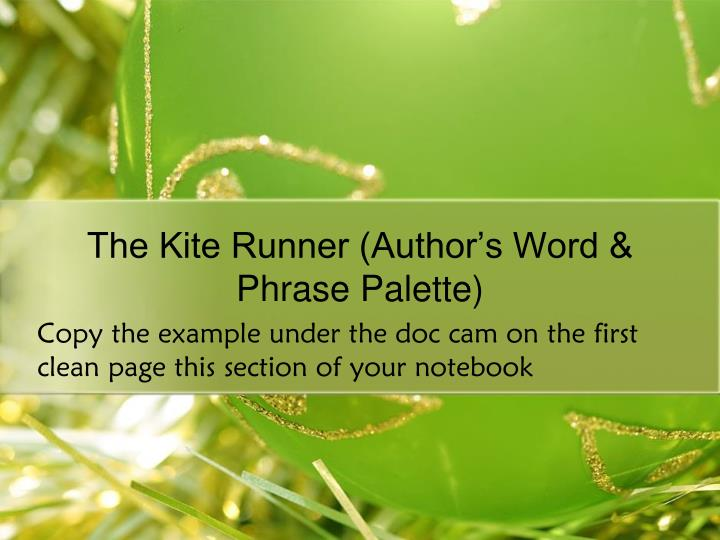 The Kite Runner (Author's Word & Phrase Palette)