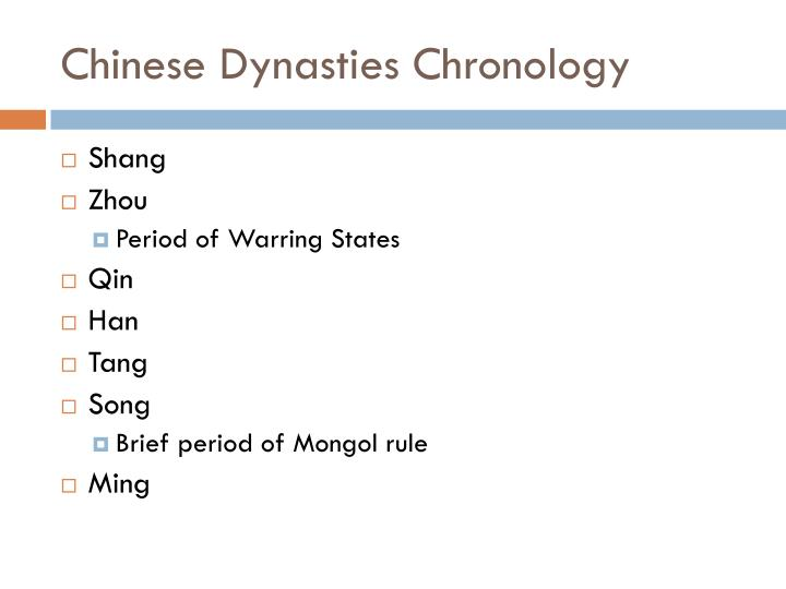 Chinese dynasties chronology