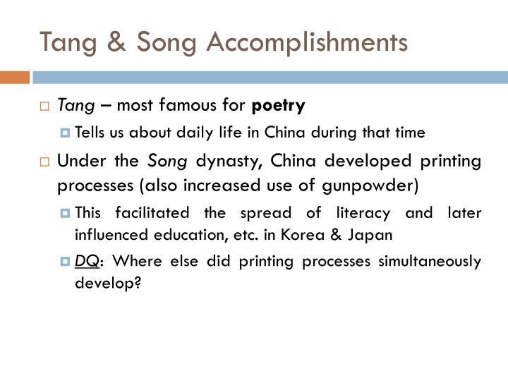 Tang & Song Accomplishments