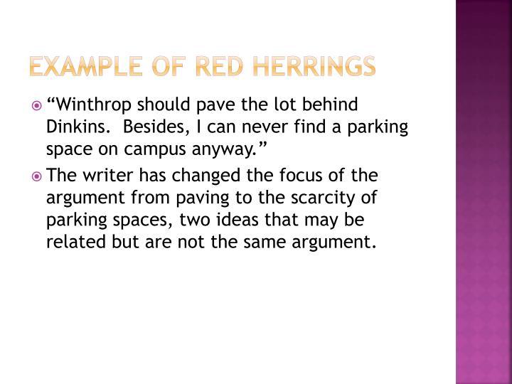Example of Red Herrings