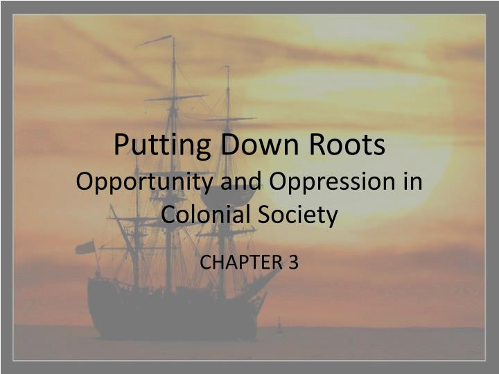 putting down roots opportunity and oppression in colonial society n.