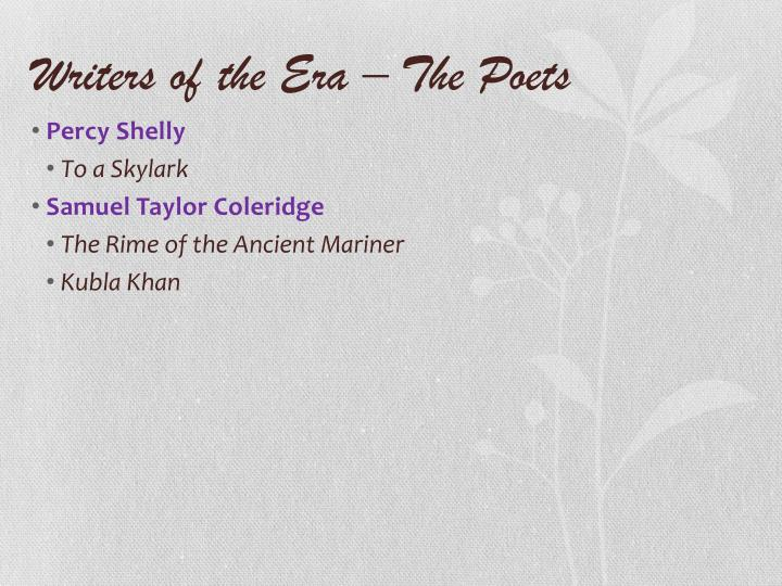 Writers of the Era – The Poets