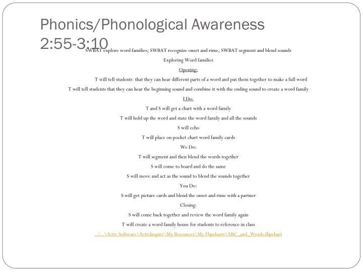 Phonics/Phonological Awareness