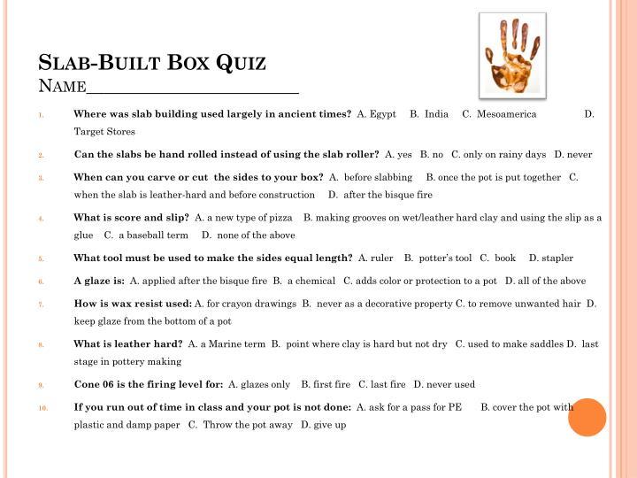 Slab-Built Box Quiz