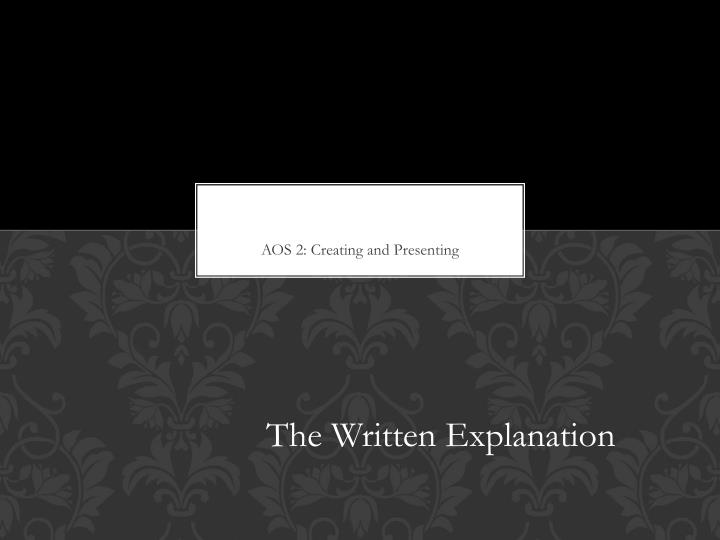 the written explanation n.