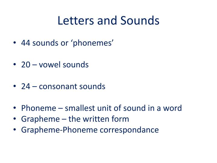 Letters and Sounds