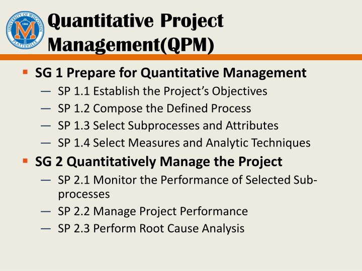 Quantitative Project Management(QPM)