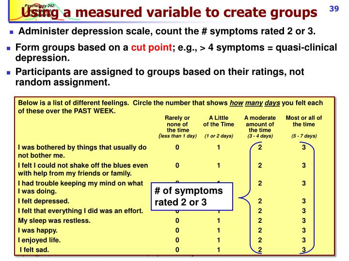 Using a measured variable to create groups