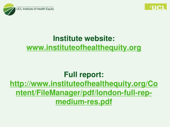 Institute website: