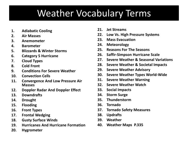 weather vocabulary terms n.