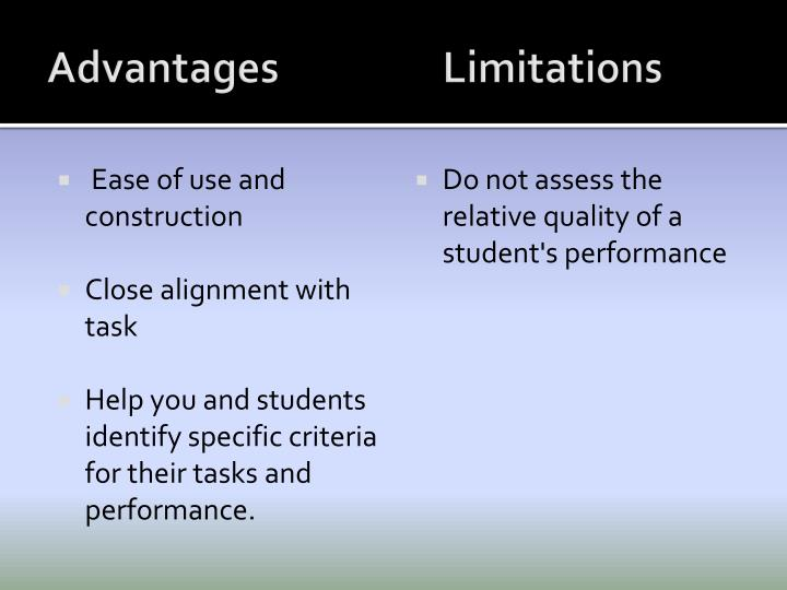 Advantages			Limitations