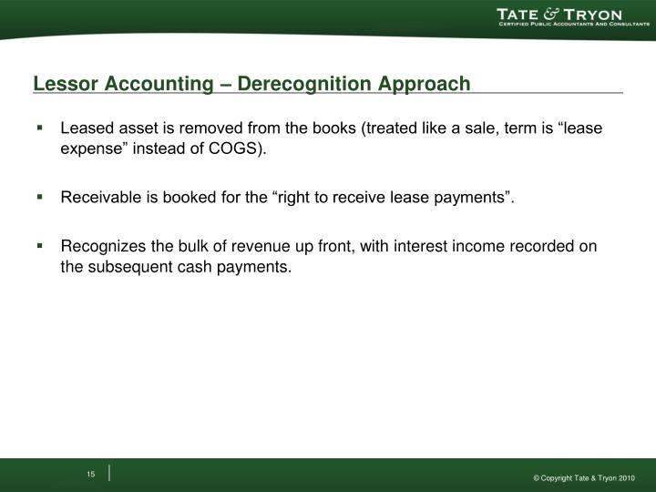 Lessor Accounting – Derecognition Approach