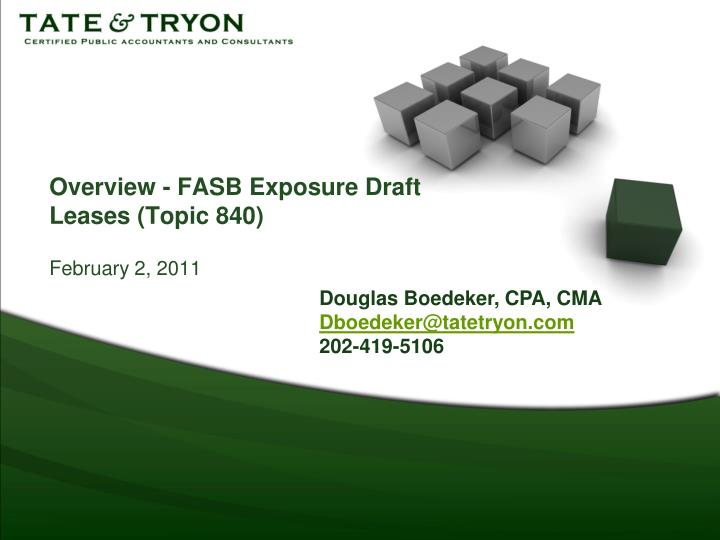 Overview fasb exposure draft leases topic 840