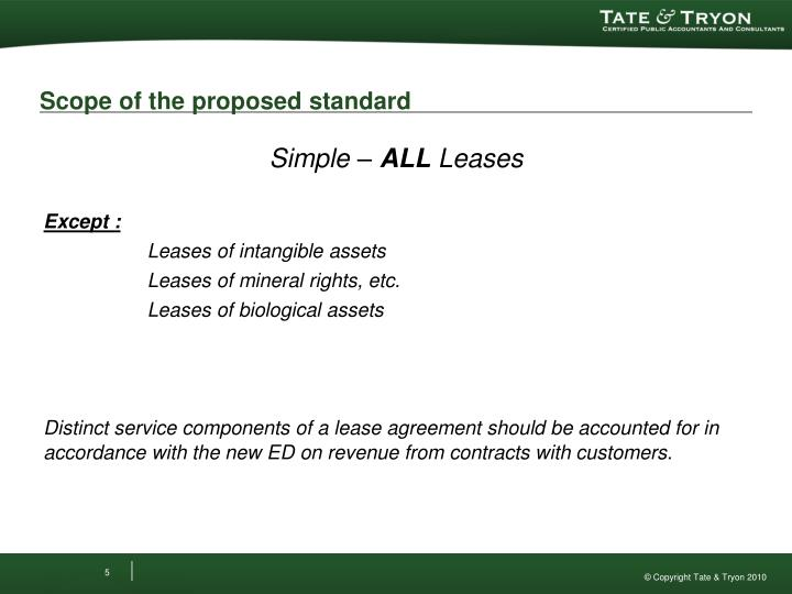 Scope of the proposed standard