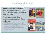 knowledge about food