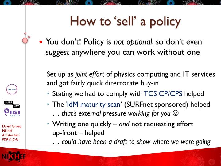 How to 'sell' a policy