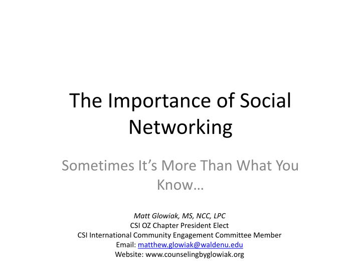 the importance of social networking n.