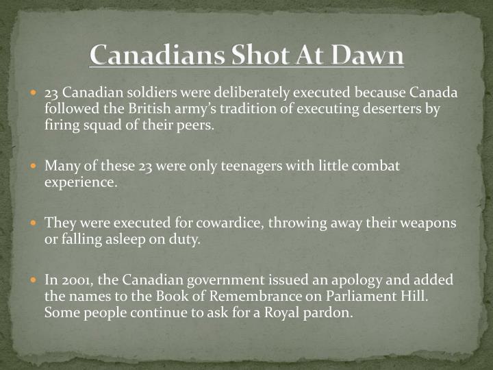 Canadians Shot At Dawn
