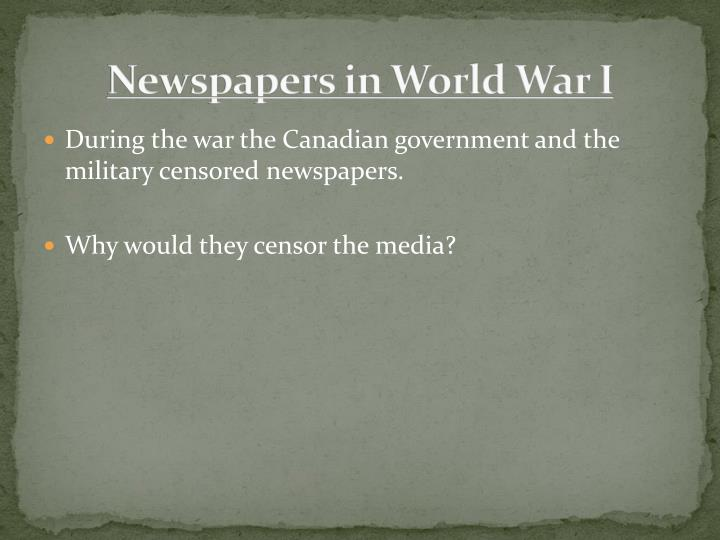 Newspapers in World War I
