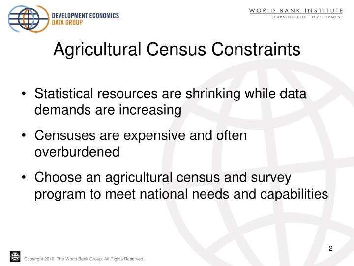 Agricultural census constraints