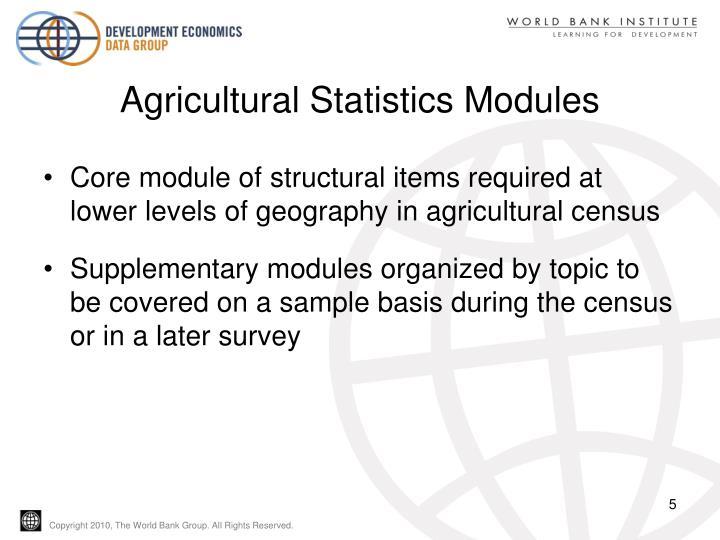 Agricultural Statistics Modules