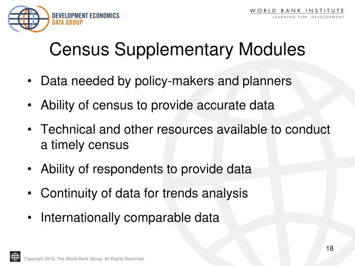 Census Supplementary Modules
