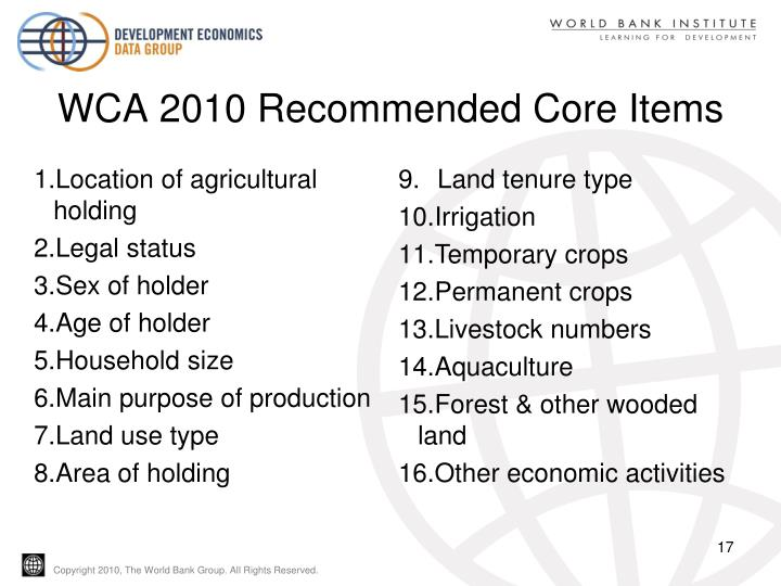 WCA 2010 Recommended Core Items