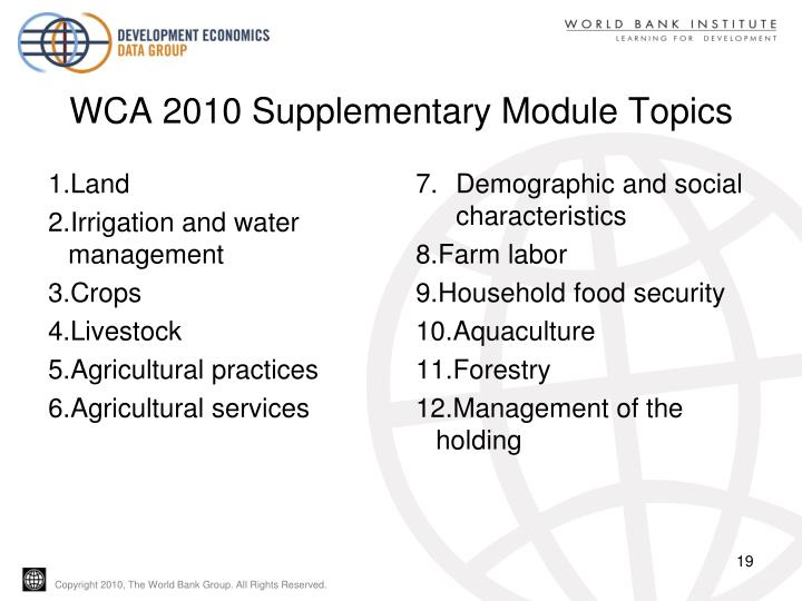 WCA 2010 Supplementary Module Topics