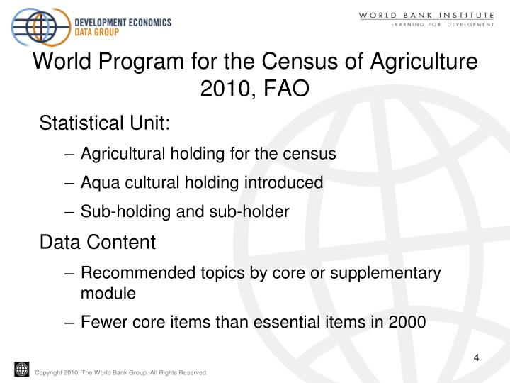 World Program for the Census of Agriculture 2010, FAO