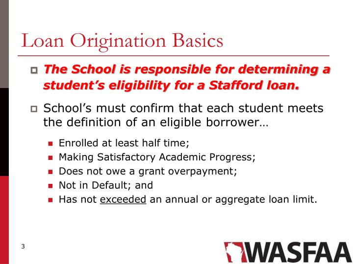Loan origination basics
