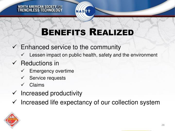 Benefits Realized