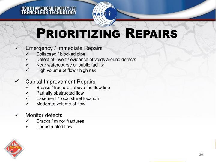 Prioritizing Repairs