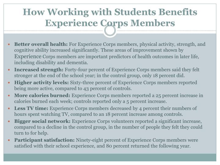 How Working with Students Benefits Experience Corps Members