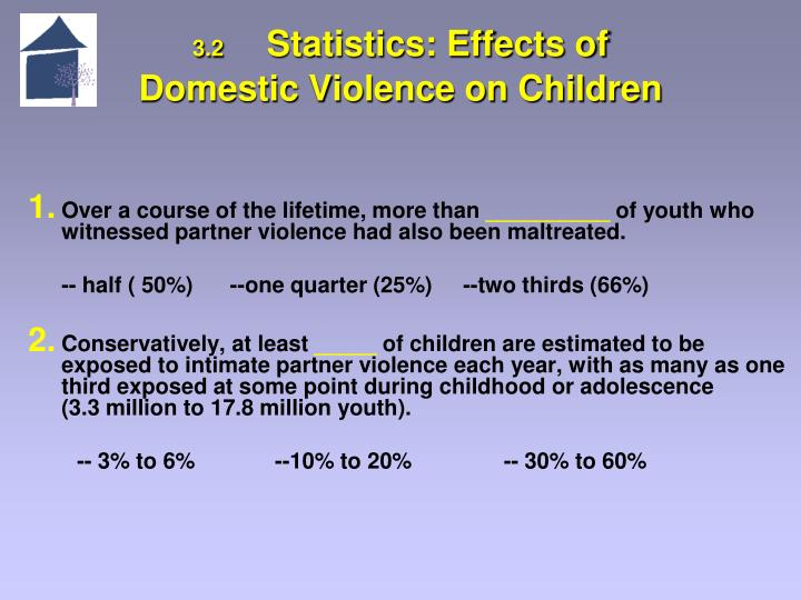 the effects domestic violence has on On the victims and perpetrators of domestic violence but has failed to recognize the children exposed to domestic violence as a social issue children exposed to domestic violence suffer a great array of issues in this section, we will begin to discuss the relationship between witnessing domestic violence and the effects that it has on children.