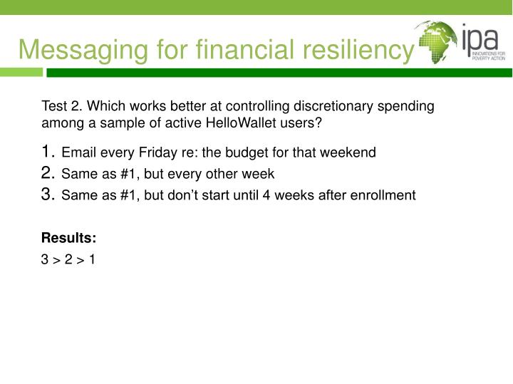 Messaging for financial resiliency