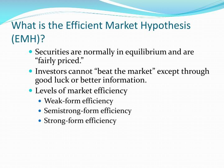 "efficient market hypothesis summary Of efficient market hypothesis: ""not dead yet"" market economy is one where supply and demand is responsive to price justification is that prices provide basis."