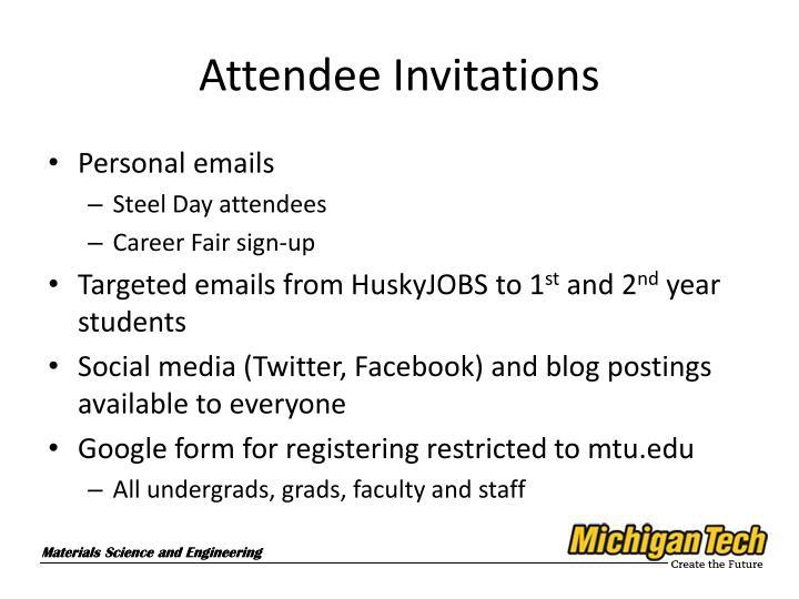 Attendee Invitations