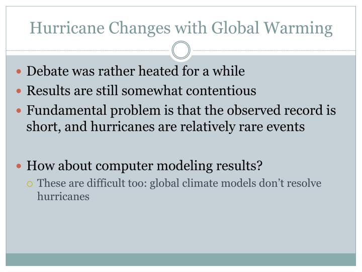 Hurricane Changes with Global Warming