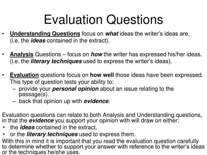 evaluation questions How can the answer be improved.