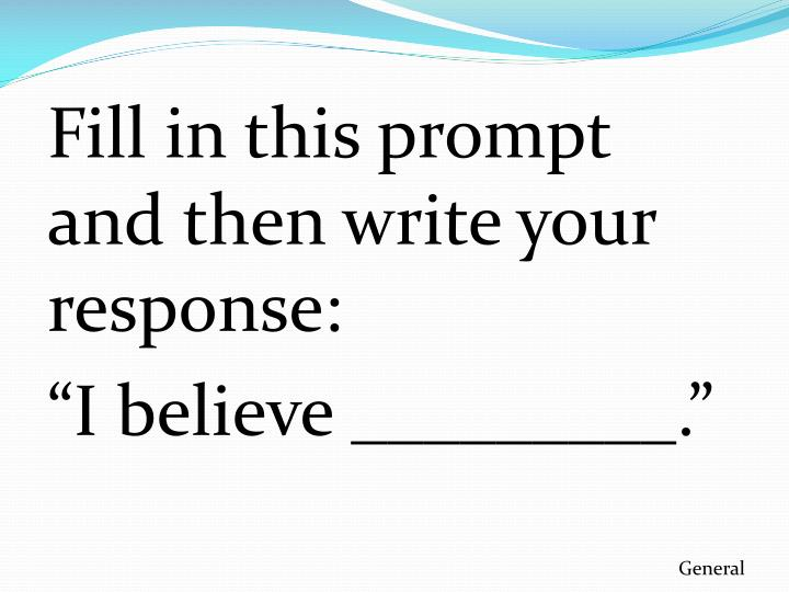 Fill in this prompt and then write your response: