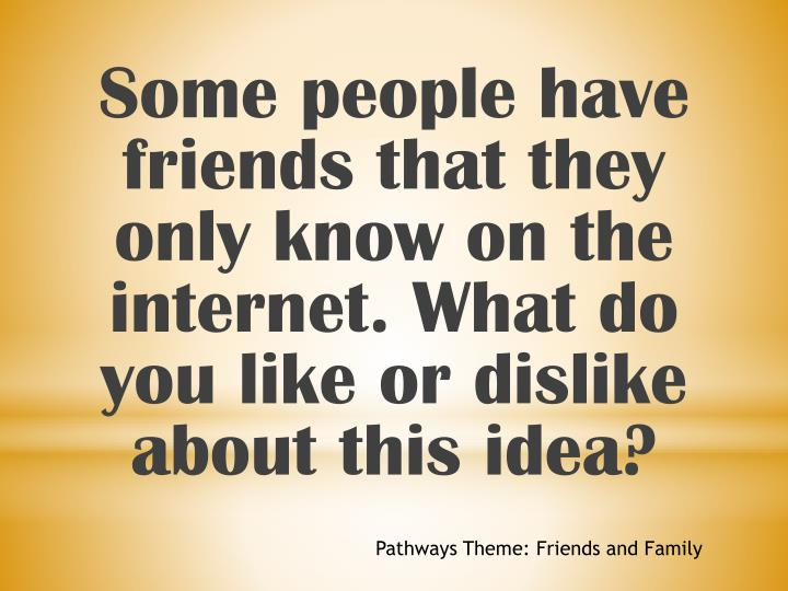 Some people have friends that they only know on the internet. What do you like or dislike about this idea?