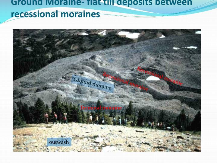 Ground Moraine- flat till deposits between recessional moraines