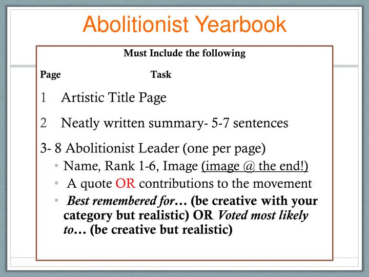 Abolitionist Yearbook