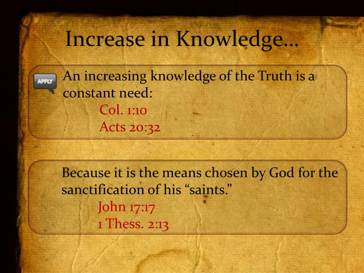 Increase in Knowledge…