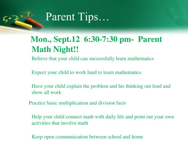 Parent Tips…