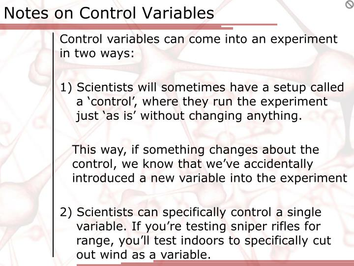 Notes on control variables1