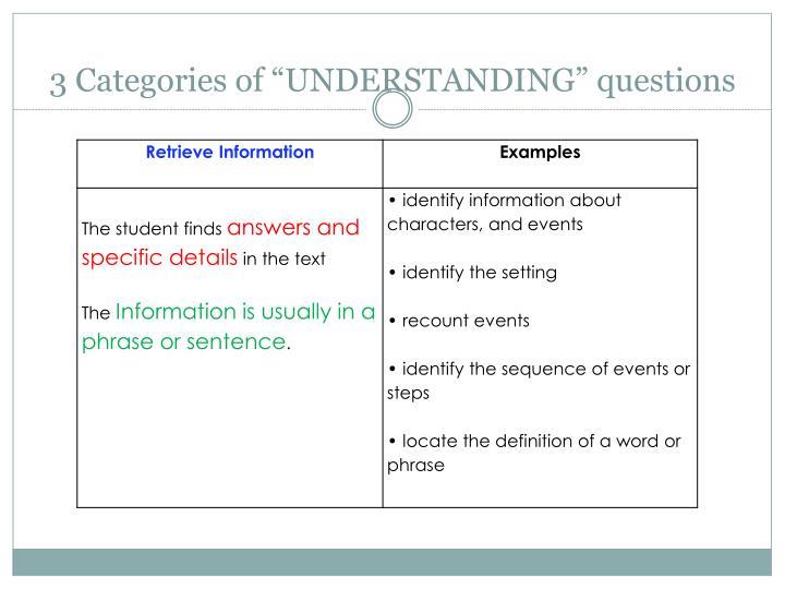 """3 Categories of """"UNDERSTANDING"""" questions"""