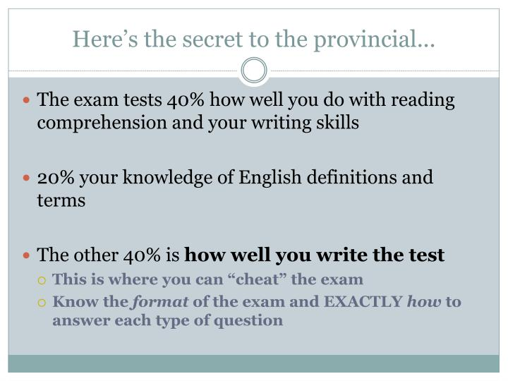 Here s the secret to the provincial